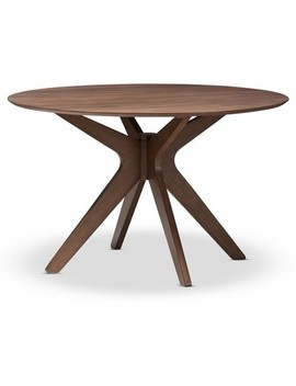 "Monte Mid   Century Modern Wood Finish 47   Inch Round Dining Table   ""Walnut"" Brown   Baxton Studio by Baxton Studio"
