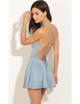 Baby Blue Suede A Line Dress by Lucy In The Sky