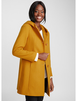 Accent Button Hooded Coat by Contemporaine
