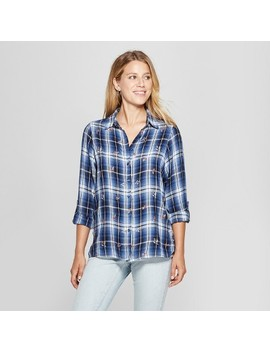 Women's Plaid Long Sleeve Embroidered Button Down Shirt   Knox Rose™ Blue by Knox Rose™
