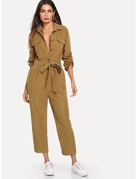Roll Tab Sleeve Button Front Self Belted Jumpsuit by Shein