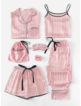 7 Pcs Letter Embroidered Striped Pj Set With Shirt by Sheinside