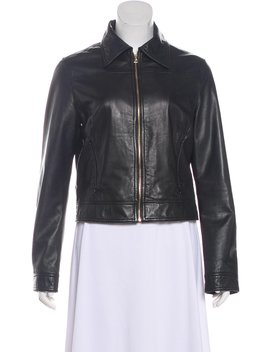 Leather Zip Up Jacket by L'agence
