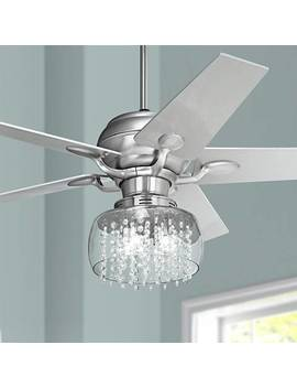 "52"" Casa Optima™ Brushed Steel And Crystal Ceiling Fan by Lamps Plus"