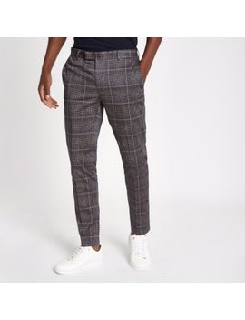 Dark Grey Check Smart Ultra Skinny Trousers by River Island