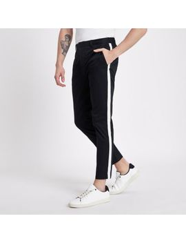 Navy Tape Side Skinny Fit Chino Pants by River Island