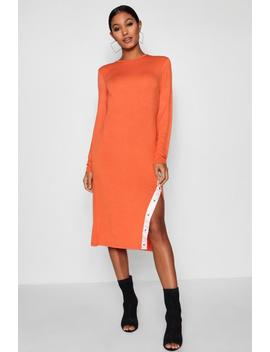 Sports Popper Detail High Split Midi Dress by Boohoo