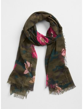 Oblong Camo Floral Print  Scarf by Gap