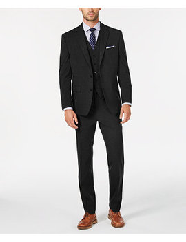 Men's Classic/Regular Fit Stretch Solid Vested Suit, Created For Macy's by Club Room