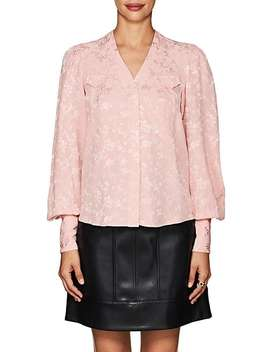 Charlotte Floral Silk Jacquard Blouse by Maison Mayle