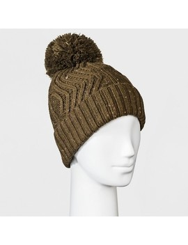 Women's Fleece Lined Knit Ribbed Pom Beanie   Universal Thread™ by Universal Thread™