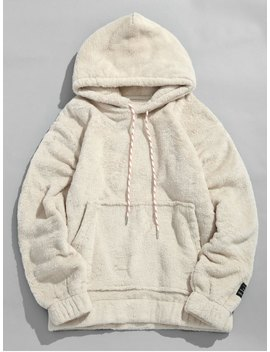 Solid Pouch Pocket Fluffy Hoodie   Warm White S by Zaful
