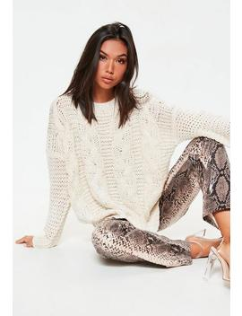 Cream Boyfriend Cable Knitted Sweater by Missguided