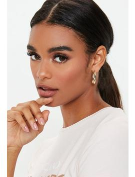 Gold Look Chunky Mini Hoop Earrings by Missguided