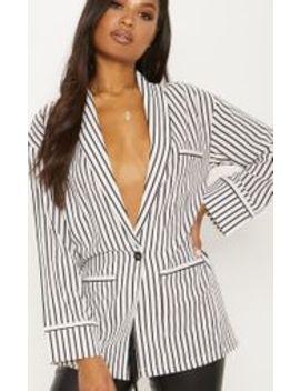 White Striped Satin Blazer by Prettylittlething