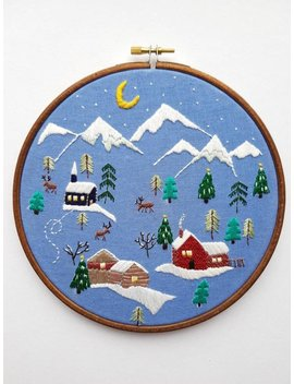 """Hand Embroidered Snowy Village Scene 1 Framed In A 7"""" Embroidery Hoop by Etsy"""