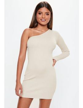 Stone One Shoulder Bodycon Knitted Mini Dress by Missguided
