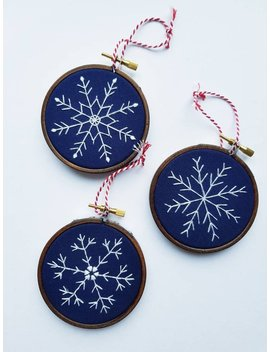 "Three Hand Embroidered Snow Flake Ornaments In 3"" Embroidery Hoops by Etsy"