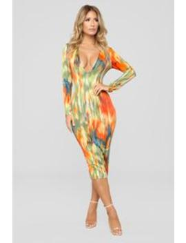 Painting Pictures Dress   Orange Multi by Fashion Nova