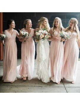 Dessy Bridesmaids Dress Style 2894 In Blush Preowned/Used by Dessy Collection