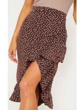 Chocolate Polka Dot Frill Midi Skirt by Prettylittlething