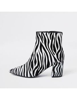 Black Zebra Print Pointed Block Heel Boots by River Island
