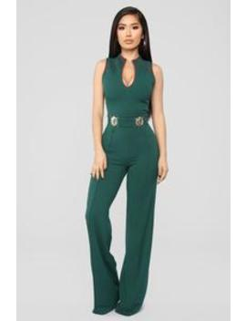Highest Priority High Collar Jumpsuit   Hunter Green/Red by Fashion Nova