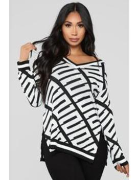 Stay With Me Tunic Sweater   Black/White by Fashion Nova