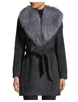 Oversized Fur Collar Belted Wrap Coat by Sofia Cashmere