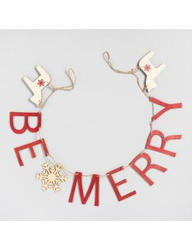 Red And Natural Wood Be Merry Garland by World Market