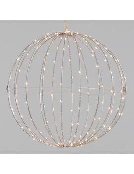 Silver Metal Led 200 Light Battery Operated Hanging Sphere by World Market