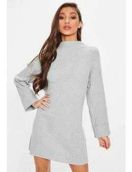 Grey Ribbed Folded Cuff T Shirt Dress by Missguided