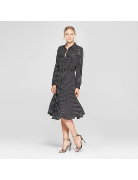 Women's Striped Convertible Sleeve Midi Shirt Dress   Who What Wear™ by Who What Wear