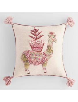 Blushing Llama Embroidered Throw Pillow With Tassels by World Market