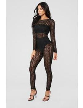 What's The Status Sheer Jumpsuit   Black by Fashion Nova