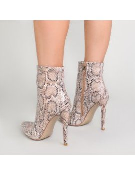 Revive Pointy Ankle Boots In Snake Print by Public Desire