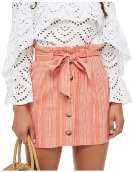 Petite Striped Linen Blend Mini Skirt by Topshop