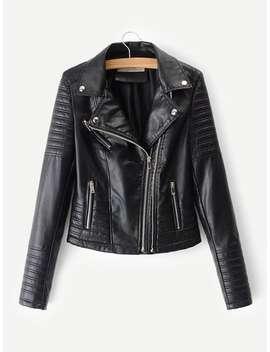 Faux Leather Biker Jacket by Shein