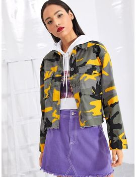 Flap Pocket Front Camo Jacket by Shein