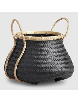 Large Black Bamboo Tatiana Tote Basket by World Market
