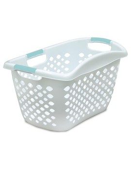 Home Logic Hip Grip Laundry Basket   White With Teal Handles by Home Logic