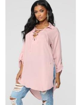 All Mine Lace Up Tunic   Dusty/Rose by Fashion Nova