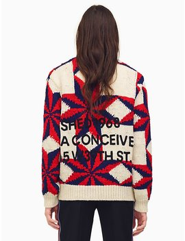 Embroidered Quilted Sweater by Calvin Klein