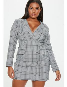 Plus Size Gray Plaid Blazer Dress by Missguided