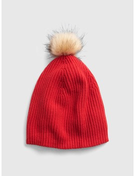 Cozy Faux Fur Pom Pom Beanie by Gap