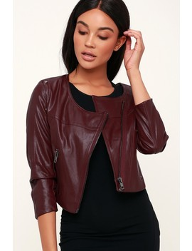 Williams Burgundy Vegan Leather Cropped Moto Jacket by Lulus