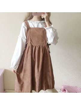 honey-diary---frill-trim-long-sleeve-top-_-corduroy-pinafore-dress by honey-diary