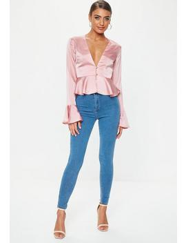 Petite Pink Button Front Blouse by Missguided