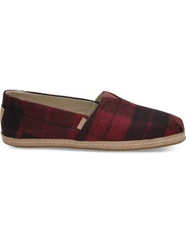 Red Plaid Felt Women's Classics by Toms