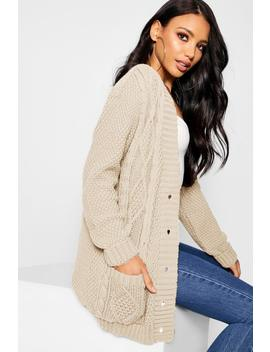Cable Boyfriend Button Up Cardigan by Boohoo